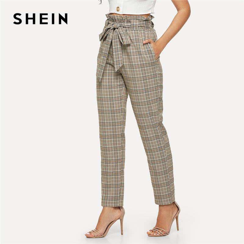 SHEIN Multicolor Elegant Minimalist Office Lady Workwear Vintage Belted Frill High Waist ...