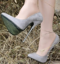 Sexy Gray Womens Flock Pointed Toe Pumps Shoes Steel Heel 16cm Big Size Lady A6