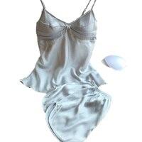 2016 summer style pajamas sets women female sleep set women's deep V neck sexy spaghetti strap shorts sleepwear silk homewear
