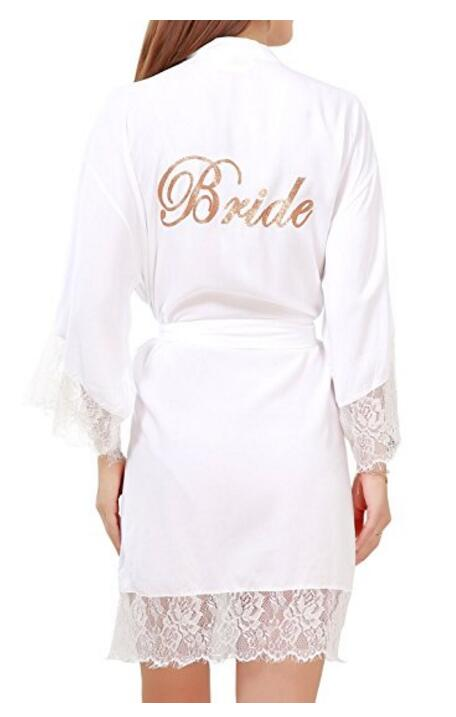 Women's Cotton Pure Color Short Kimono Robes with Gold Glitter for Bridesmaid and Bride,Wedding Party Getting Ready Robe with L