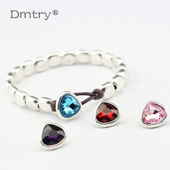 Dmtry 5pcs/lot Fashion Silver Crystal Heart Leather Clasp For Handmade DIY Bracelet Necklace Jewelry Making Accessories LC0039