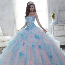 TPSAADE Two-Tone Ruffles Ball Gown Quinceanera Dresses