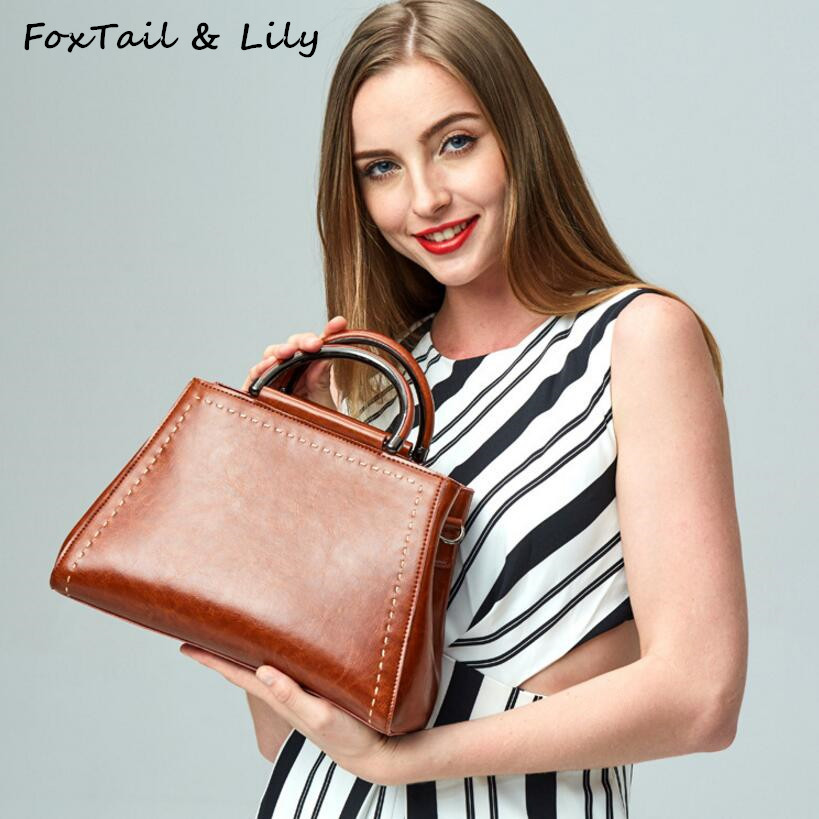 FoxTail & Lily Genuine Leather Luxury Handbags Women Bags Designer Crossbody Bags Ladies Vintage Tote Shoulder Bag High Quality fashion luxury handbags women leather composite bags designer crossbody bags ladies tote ba women shoulder bag sac a maing for