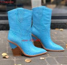 2019 Spring New Cowboy Boots For Women Pointed Toe ankle snake pattern Mid-calf Chunky Wedges Runway