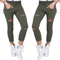 2016 Fashion Women S Casual Skinny Stretch Slim Fit Army Green Hollow Pencil Pants Trousers Leggings