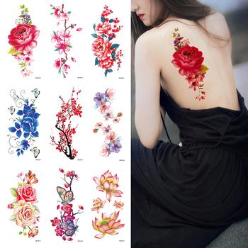 24 kolor sztuczne kwiaty naklejki z tatuażami Flash tatuaż z henny fałszywe wodoodporne tymczasowe tatuaże jednorazowe tatuaż – ozdoba na ciało tanie i dobre opinie Y W F Tattoo sticker 190* 90mm 7 5*3 5inch Flowers 24kinds of flowers are optional 6g sheet