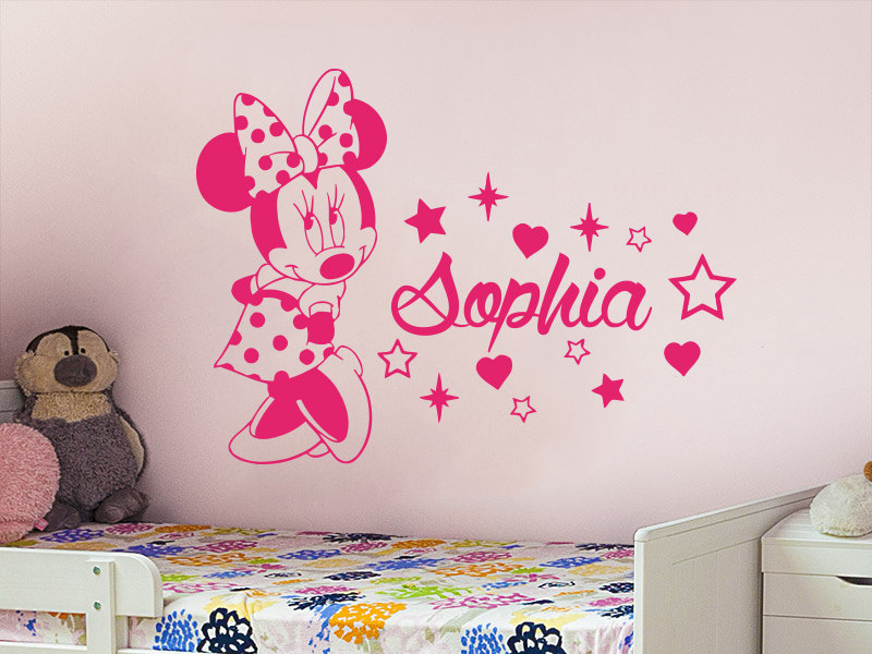 cute minnie mouse with custom personalized baby name vinyl wall sticker for baby kids bedroom. Black Bedroom Furniture Sets. Home Design Ideas