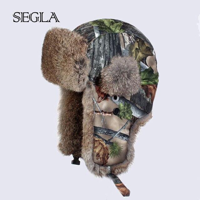 350024a02e58 Segla camo camuflaje ruso trampero del bombardero sombreros gorras de  invierno cálido nieve de piel de conejo real de caza cap ejército militar  ...