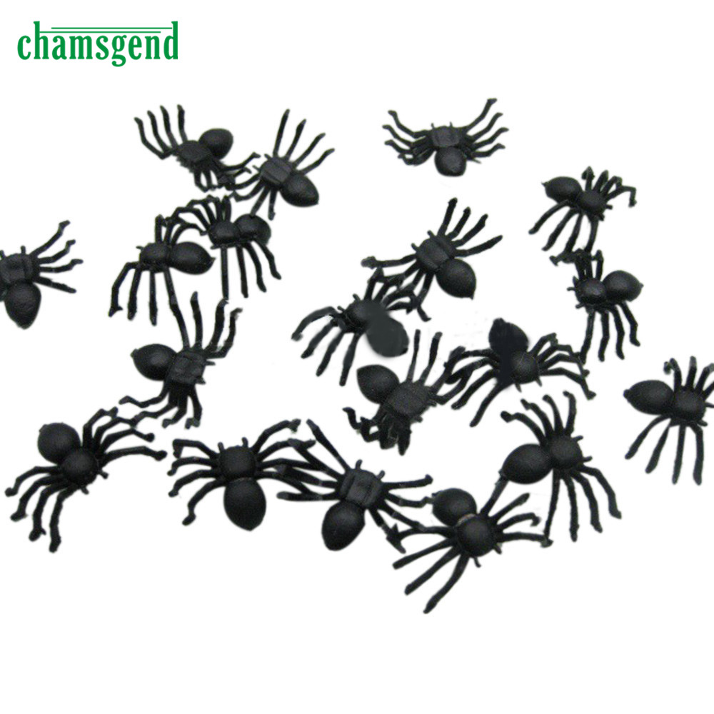 new 20 pc halloween plastic black spider joking toys decoration realistic levert dropship se14