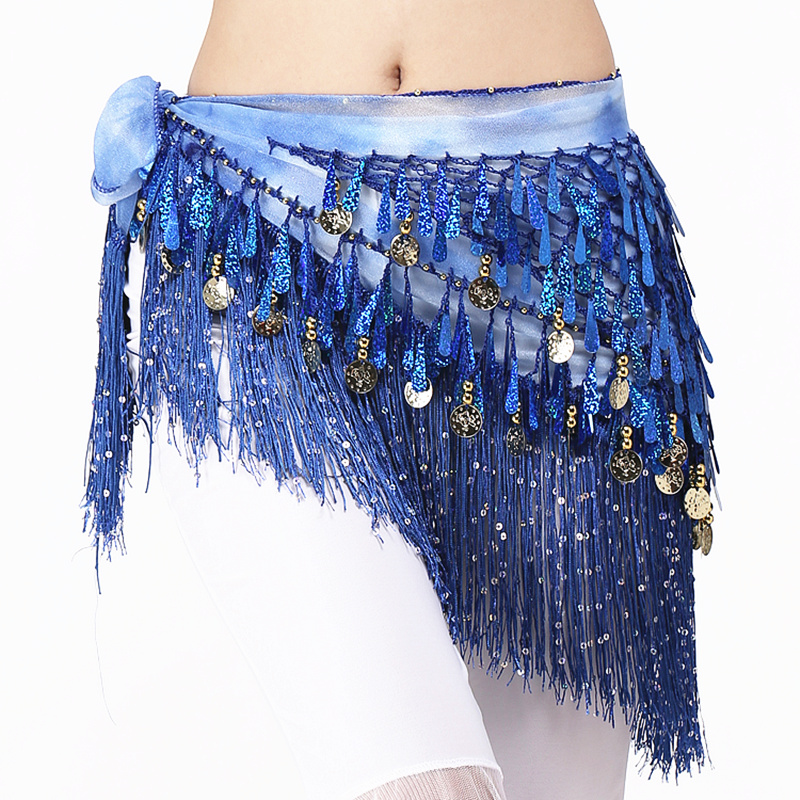 Women Belly Dance Clothing Accessories Teardrop Paillettes Fringe Wrap Elastic Base Tie-Dye Triangle Belts Coins Hip Scarf