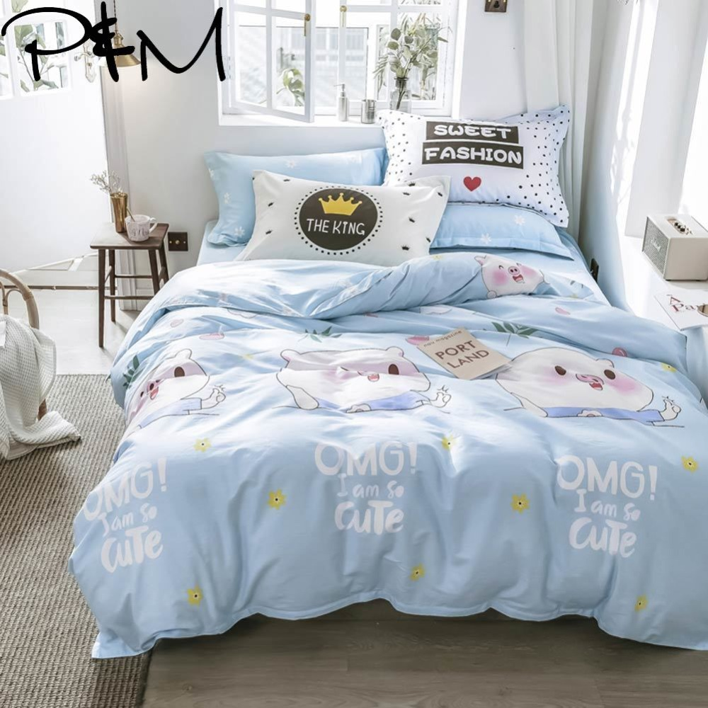 PAPA&MIMA Cartoon style Cute piglet print bedding sets cotton Twin Queen Size duvet cover bedsheet pillowcases drop shipping