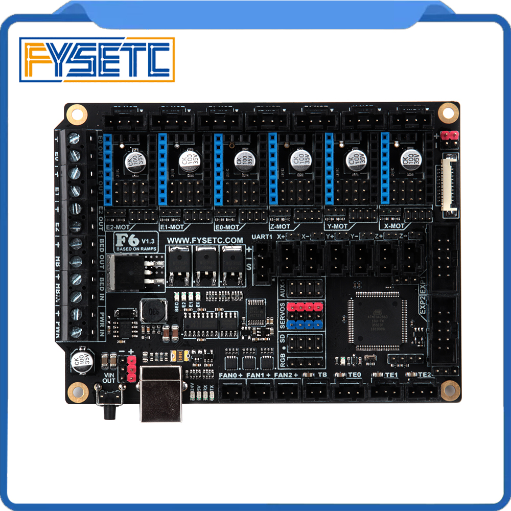 FYSETC F6 V1.3 Board ALL-in-one Electronics For Ender-3 3D Printer CNC Devices Up To 6 Motor Drivers For TMC2130 SPI VS SKR V1.3
