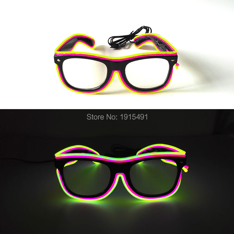 Two Color Mixed DC 3V Sound Activated EL wire Sunglasses