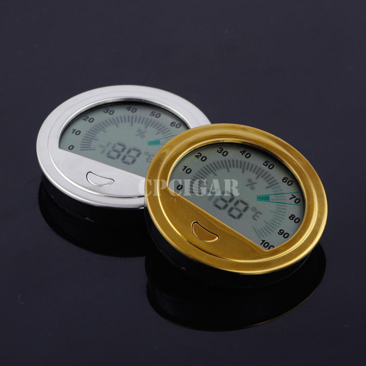 Brand New Gold Silver Round Electronic Hygrometer Digital Delicate Accurate Cigar Hygrometer Thermometer Cigarette Gadgets