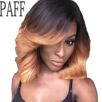 PAFF Ombre Short Lace Front Human Hair Wigs For Women Brazilian Virgin Hair Two Tone Bob Wavy Wig with Bangs PrePlucked Hairline