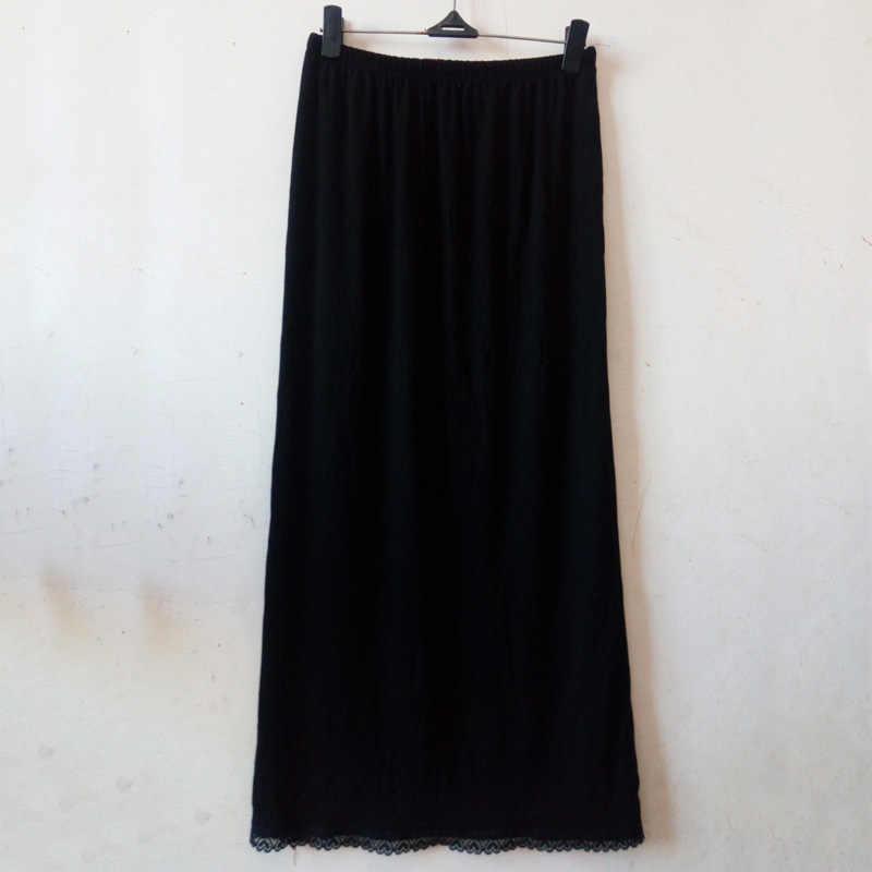 女性ウエストスリップ女性ブラックホワイトロングアンダーソフトで快適な綿の長さ 70 センチメートルペチコートハーフスリップ新 YYY9381