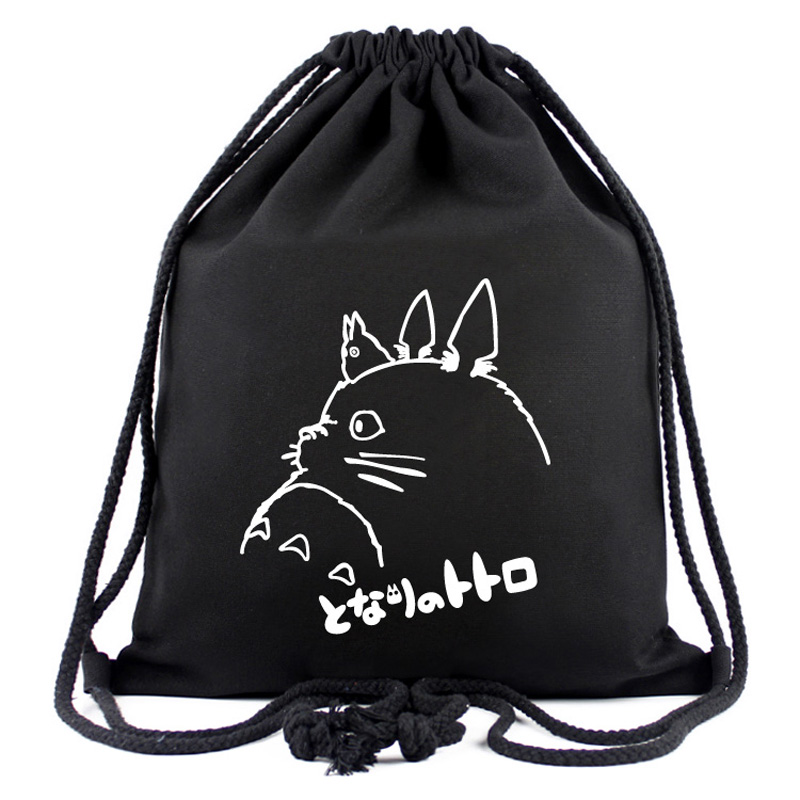 Anime My Neighbor Totoro Drawstring Bag <font><b>Spirited</b></font> <font><b>Away</b></font> Black Canvas <font><b>Backpack</b></font> Men Women Casual <font><b>Backpack</b></font> With String image