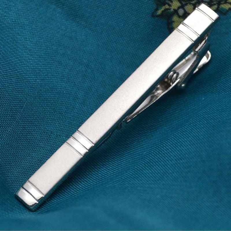 1 Pcs Men's Metal Tie Clip Fashion Silver Simple Necktie Tie Pin Bar Clasp Clip
