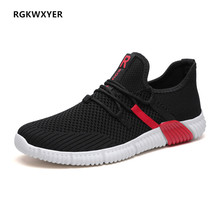 RGKWXYER Men Casual Shoes Fly Knit Breathable Men Shoes Lace-Up Mesh Slip On Sneakers High Quality Comfortable Running Shoes knit design slip on sneakers