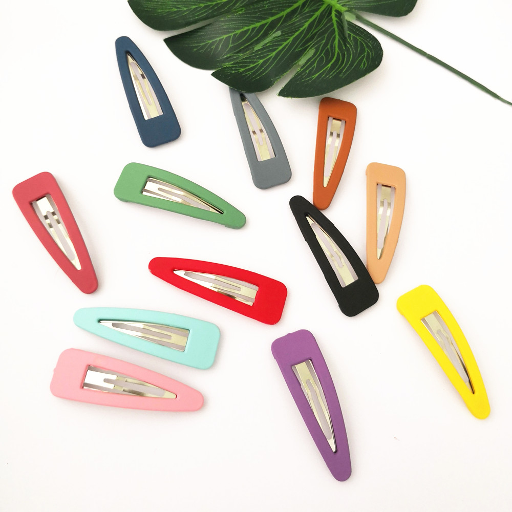 10 Pcs/Pack Solid Color Plastic Hair Clips Girls' Hairpins Women Barrettes Hair Accessories PC139