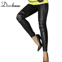 Fashion Black Faux Leather Leggings Zip Front For Women LC7780 Cheaper Price Free Shipping Cost Fast