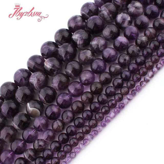 """6,8,10,12mm Smooth Round Beads Dream Amethysts Natural Stone Beads For DIY Necklace Bracelat Jewelry Making 15"""" Free Shipping"""