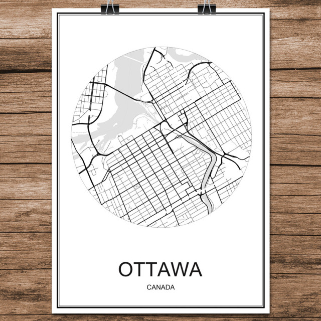 OTTAWA Canada Abstract World City Street Map Print Poster Coated Paper Cafe Bar Living Room Home Decoration Wall Sticker 42x30cm