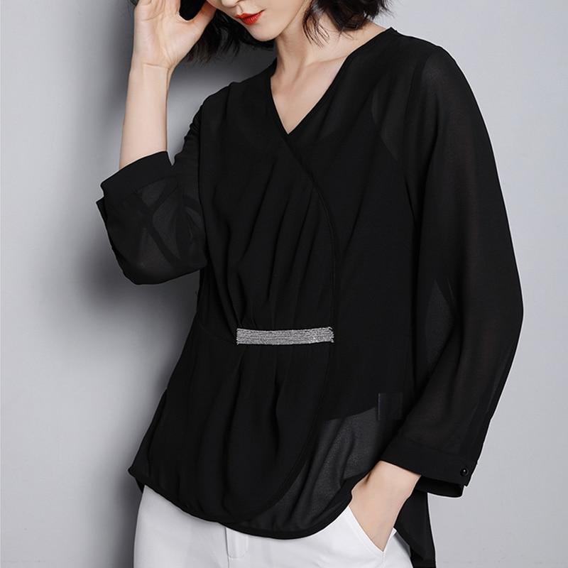 2019 nouveau Style coréen femmes en mousseline de soie Blouse col en V à manches longues t-shirts 6978 #