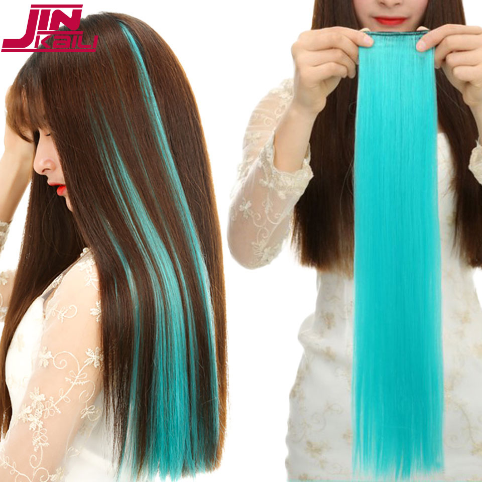 JINKAILI WIG1Piece 2 Clip-in Long Straight Piece Hair Extensions Pure Color Long Straight Synthetic Heat Resistant Hair