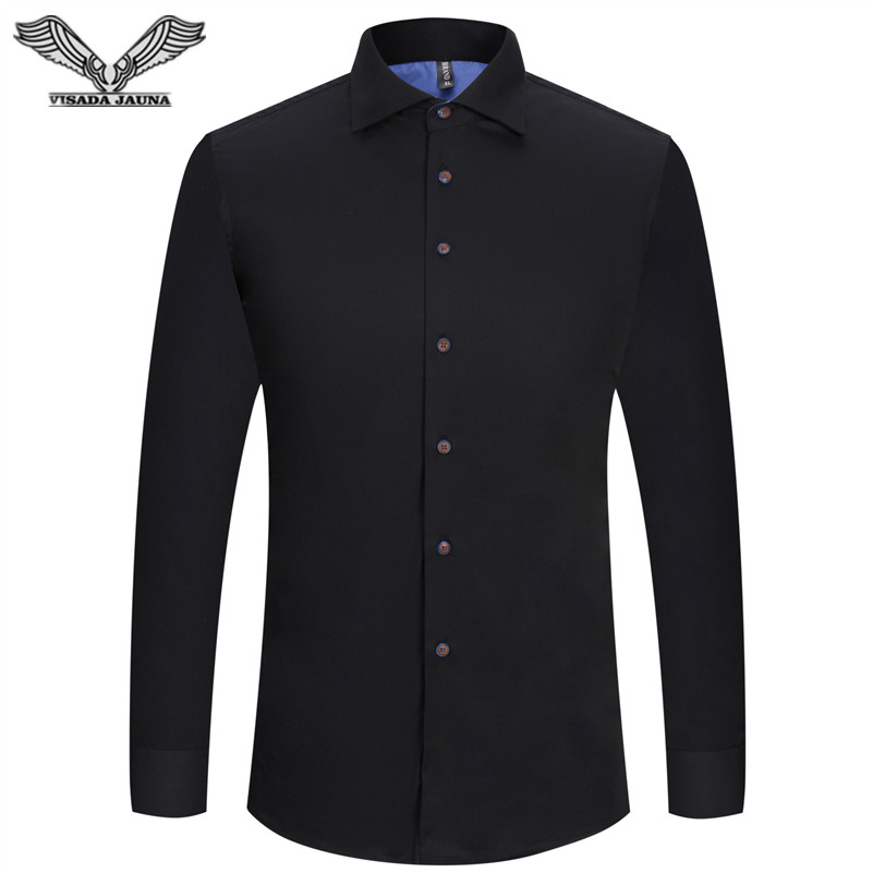 VISADA JAUNA 2017 Mens Dress Shirts Casual British Style Fashion Casual Slim Fitness Long Sleeve Cotton Male Shirts 5XL N5802
