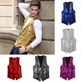 Man Vest Stage Bar Service Bright Cover Cardigan Waistcoat Performance Show Sleeveless Sequin With Waistbelt Formal Mens Vests