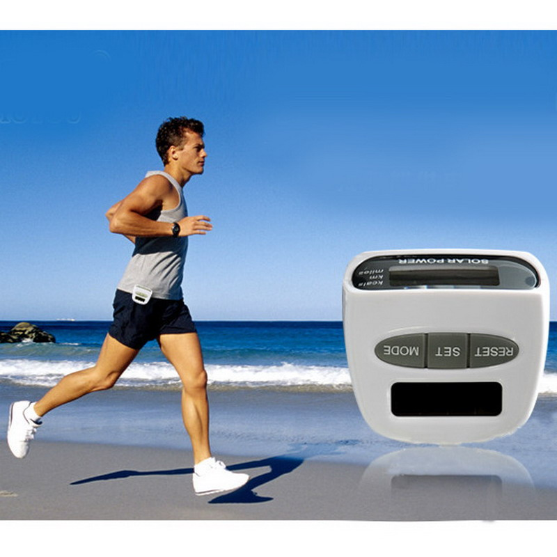 New Solar Energy Electronic Sports Pedometer Multi-function Pedometer White