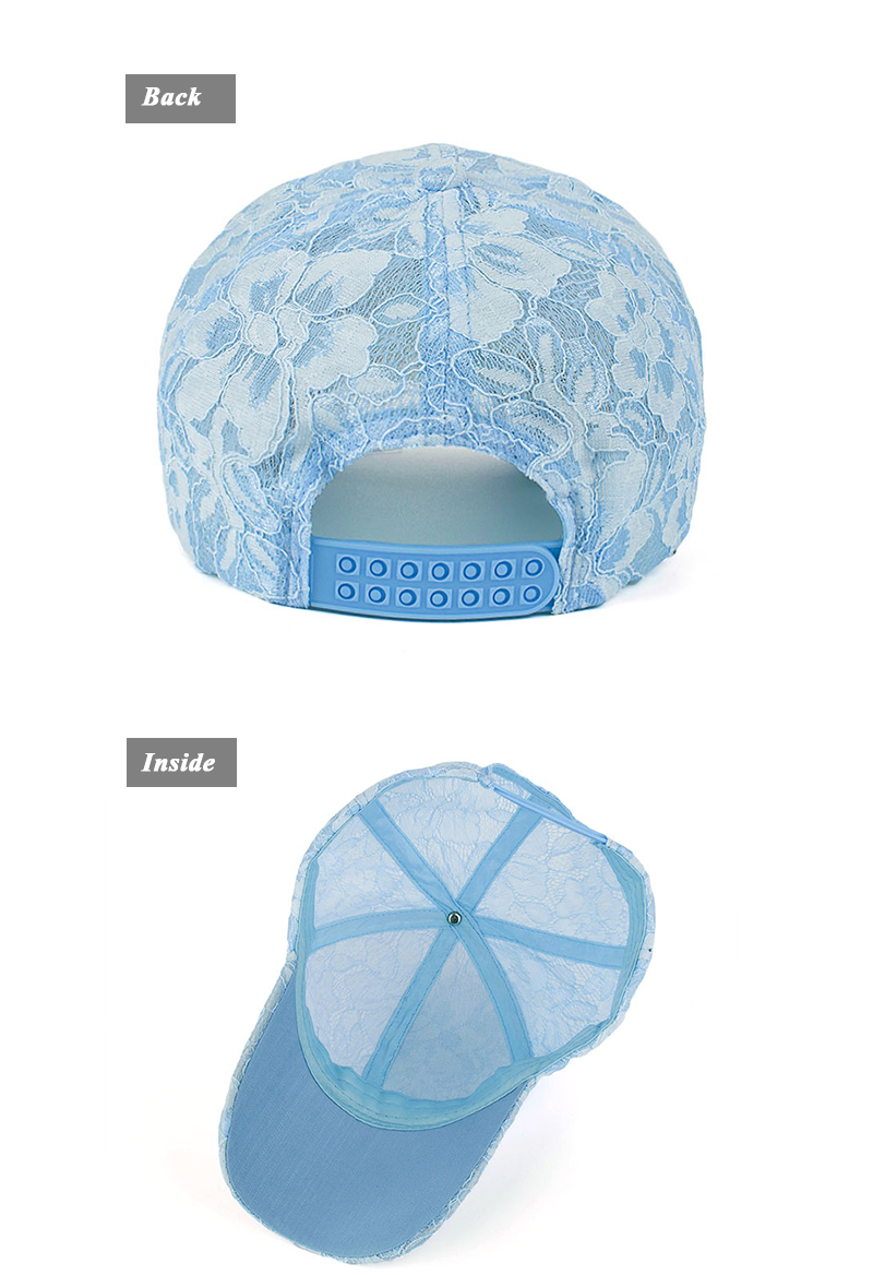 Floral Lace Over Denim Snapback Cap - Baby Blue Cap Rear and Inside Views