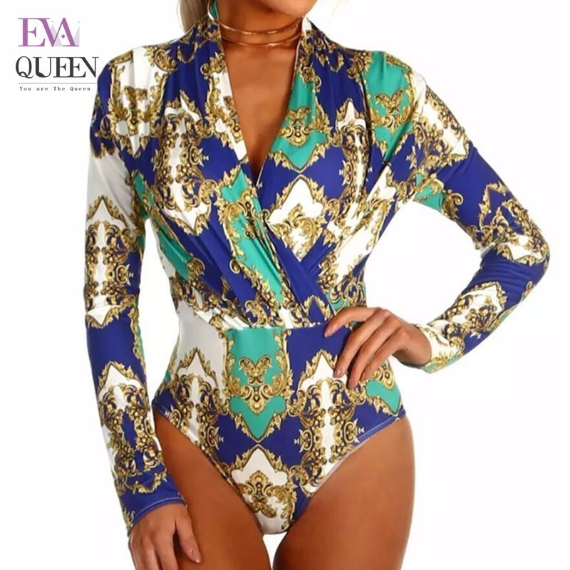 Evaqueen 2018 Sexy V Neck Long Sleeve Bodysuit Fashion Floral Patchwork Print Women Jumpsuit Club Beach Party Romper Playsuits