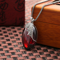 925 Sterling Silver Necklace Garnet Leaves Pendant retro fashion Natural semi precious stones Women jewelry girlfriend gift