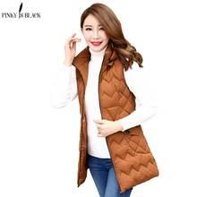 PinkyIsBlack Autumn Winter Women Vest 2019 New Fashion Long Ladies Jacket Coat Thicken Hooded Warm Waistcoat