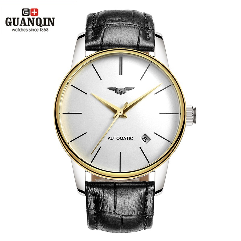 GUANQIN Men Watches Automatic Mechanical Man Thin Water Resistant Watches Japan Movement Watch with Genuine Leather Strap Clock статуэтка thin man