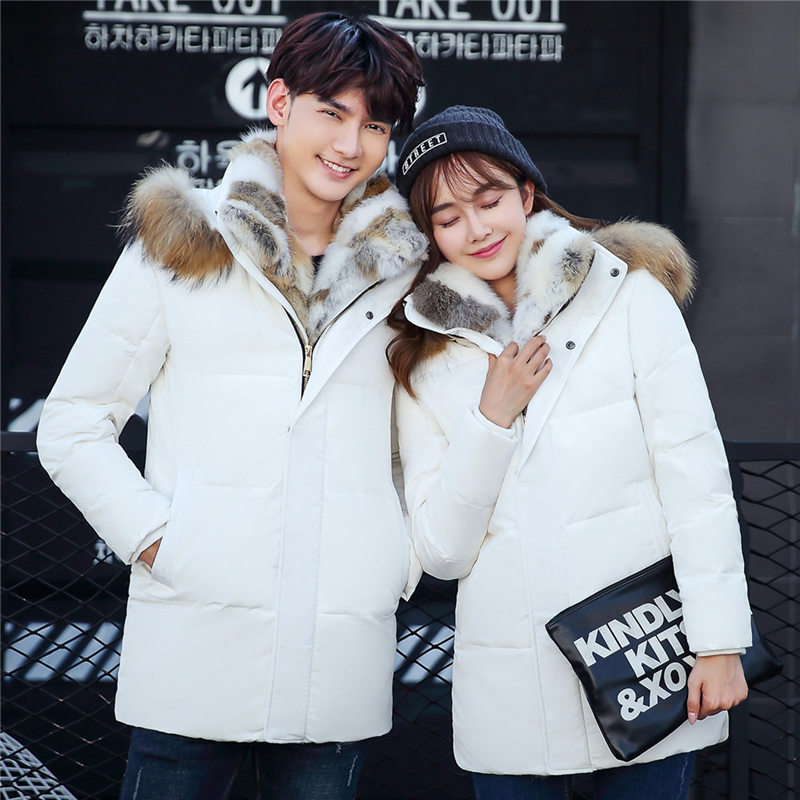 Winter Women Rabbit Fur Collar Down Jacket Men Long Thick Plus Size 5XL Young Couple Hooded Warm Lovers Parkas Mujer MZ1973 down the rabbit hole
