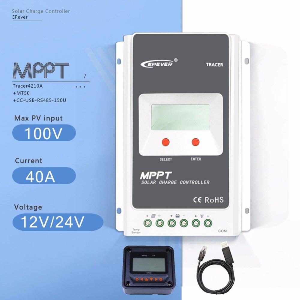 MPPT 40A Tracer 4210AN Контроллер заряда 12 В/24 В Авто ЖК дисплей Солнечный Батарея регулятор с MT50 метр и кабель USB