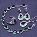 Green Emerlad White Created Topaz 925 Sterling Silver Jewelry Sets For Women Earrings/Pendant/Necklace/Rings/Bracelet Free Box