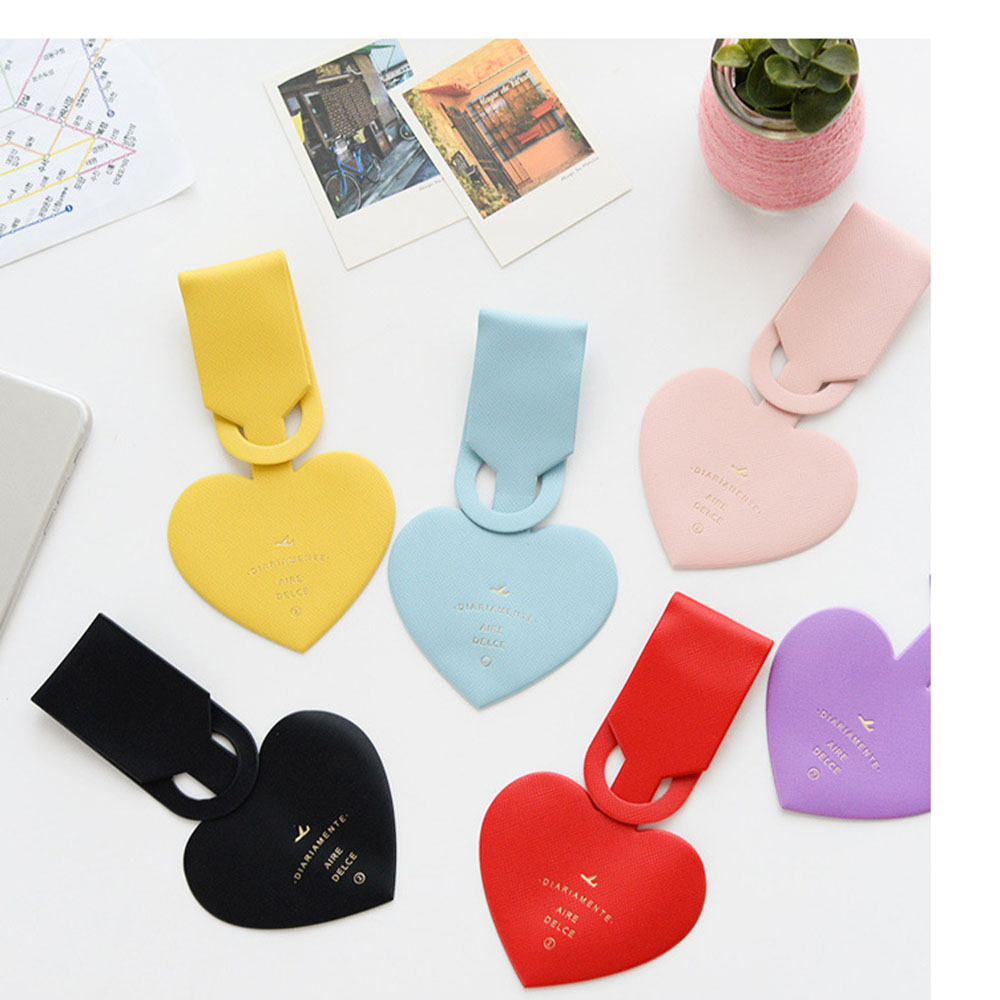 Travel Accessories Simple Love Heart Fashion Design Leather ID Address Holder Baggage Boarding Portable Label Luggage Tag