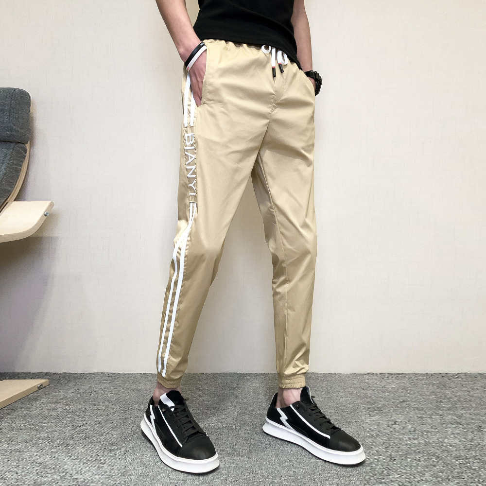 Summer Simple Pants Men Brand New 2019 Thin Mens Casual Pants Slim Fit Side Stripe Streetwear Ankle Length Trousers Men 3Colors