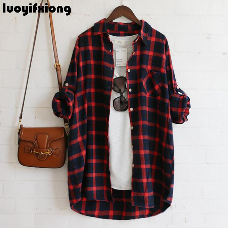 555a6dd933 Luoyifxiong 2019 Autumn Flannel Plaid Shirt Women Tops Casual Blouse Women Shirts  Long Sleeve Cotton Shirt