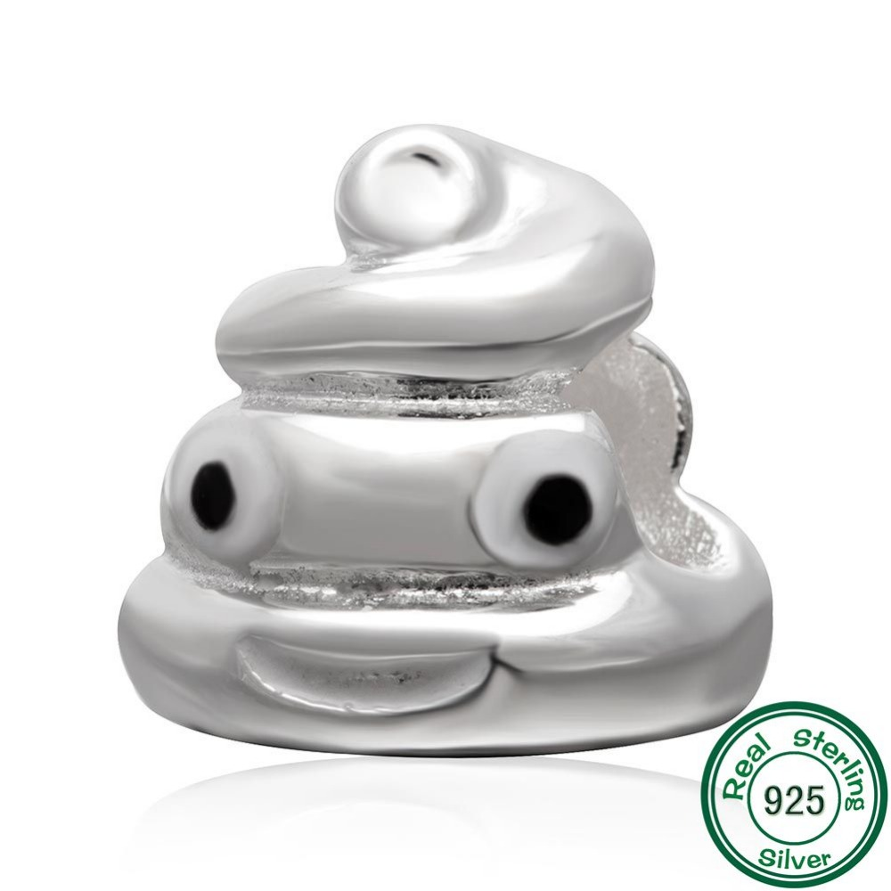 ChaWin 925 Sterling Silver QQ Expression Emoji Face Poop Beads fits Pandora Charms bracelets & Necklaces