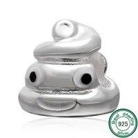 ChaWin 925 Sterling Silver QQ Biểu Biểu Tượng Cảm Xúc Mặt Poop Hạt fits Pandora Charms bracelets & Necklaces