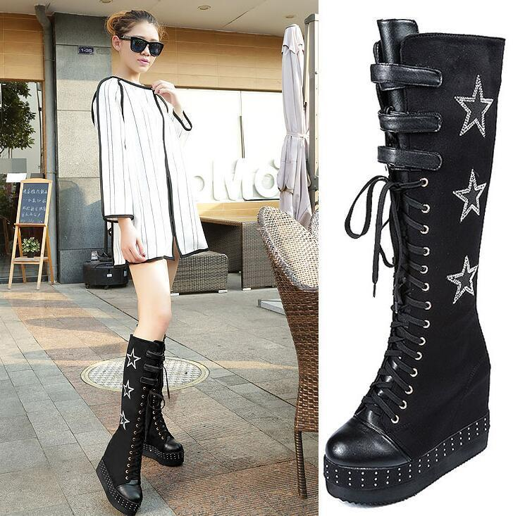 Women's lace up buckle stars stud hidden wedge heel knee high boots shoes D78