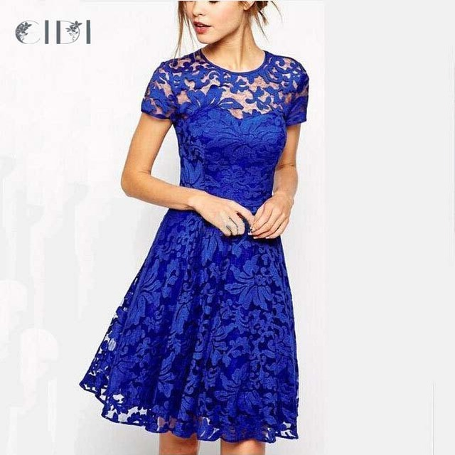 CIDI Women Sexy Elegant 3D Crochet Flower Lace Party Evening Mother of  Bride Work Casual Special Occasion Dress 44114bc039cc