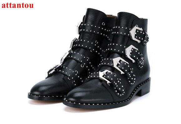 woman black ankle boots street fashion cool rivets decor flat heel short boots party dress shoes autumn winter female shoes women ankle boots 2016 round toe autumn shoes booties lace up black and white ladies short 2017 flat fashion female new chinese