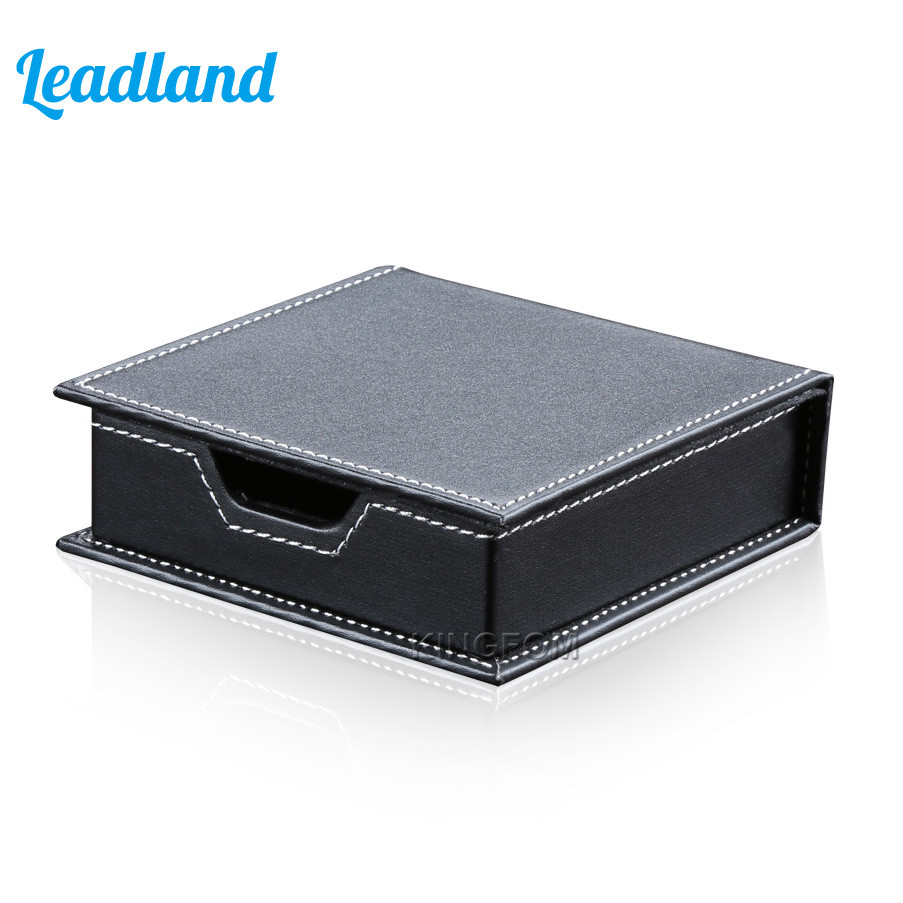 Square PU Leather Memo Holder Paper Note Box Sticky Note Storage все цены