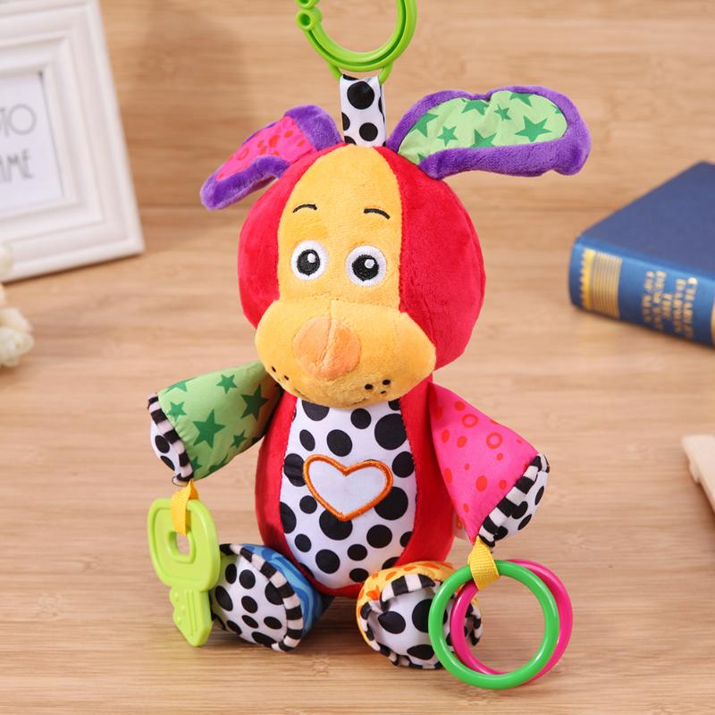 Soft Puppy Elephant Plush Rattle Teether Toy For Chrismas Gift Colorful Puppy Soft Rattle Bed Crib Stroller Music Plush Toy